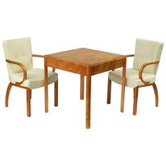 Set of Four Danish Birch Chairs and Game Table with Flip-Over Top