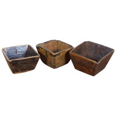Collection of Small Nicely Worn Antique Grain Measure Baskets