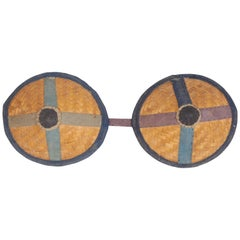 Handwoven Antique Donkey Blinders, Wall Hanging