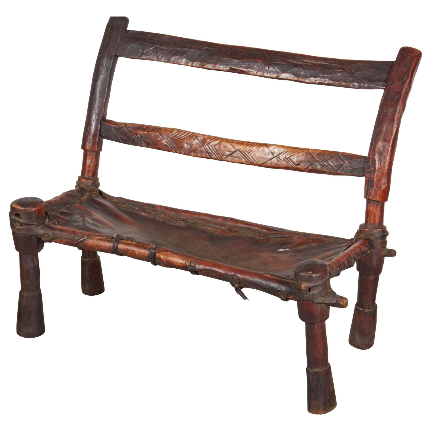 Antique Wood And Leather Bench With Great Patina And Clean Lines For Sale At 1stdibs