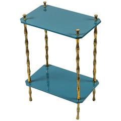 """Hollyhock """"Freddie"""" Drinks Table in Teal Blue with Brass Bamboo Legs"""