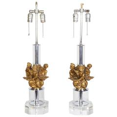 Pair of Continental Bronze Mounted Lucite Table Lamps