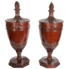 Pair of George IV Style Hand Carved Urns