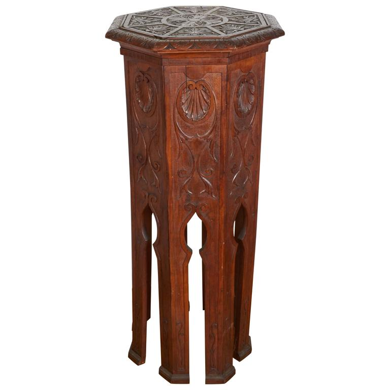 Ottoman With Wood Pedestal ~ Ottoman syrian style hand carved pedestal for sale at stdibs
