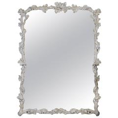 Italian Grey Painted Faux Bois Mirror