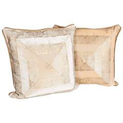 Pair of Italian White and Beige Velvet Cushions