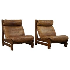 Pair of 1970s De Sede Patchwork Leather and Oak Sipper Chairs