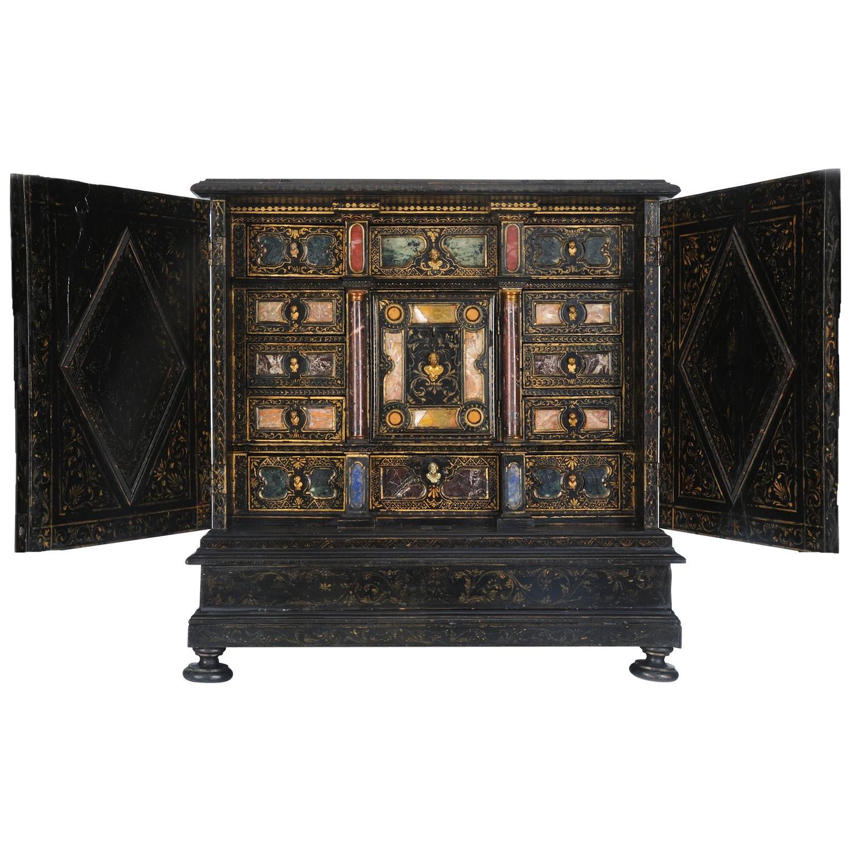 Rare Italian Baroque Pietra Dura Table Cabinet Florence