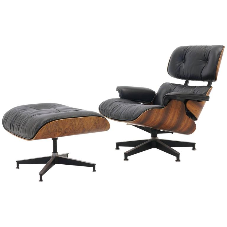excellent original brazilian rosewood eames lounge chair and ottoman at 1stdibs. Black Bedroom Furniture Sets. Home Design Ideas