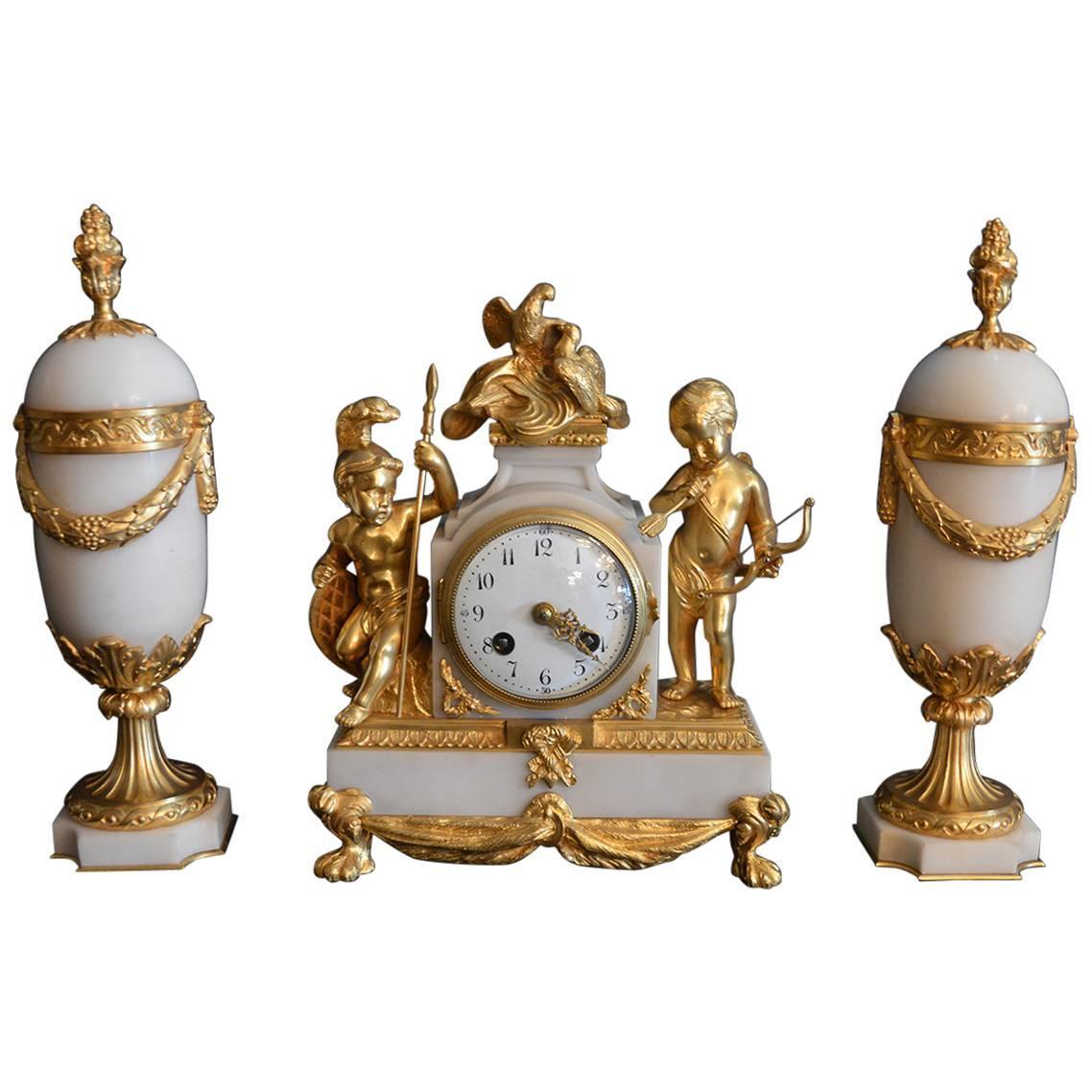 French 19th Century Clockset