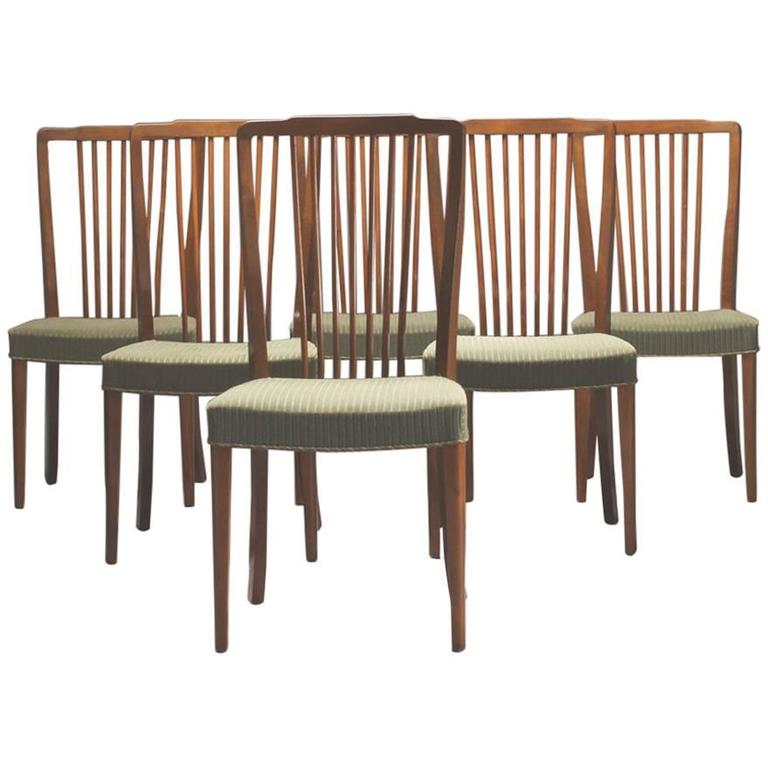 Set Of Six Danish Modern Spindle Back Dining Chairs At 1stdibs