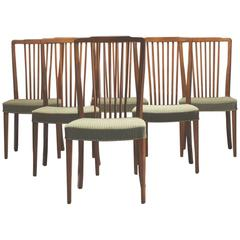 Set of Six Danish Modern Spindle Back Dining Chairs