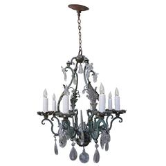 Painted Wrought Iron Crystal Chandelier
