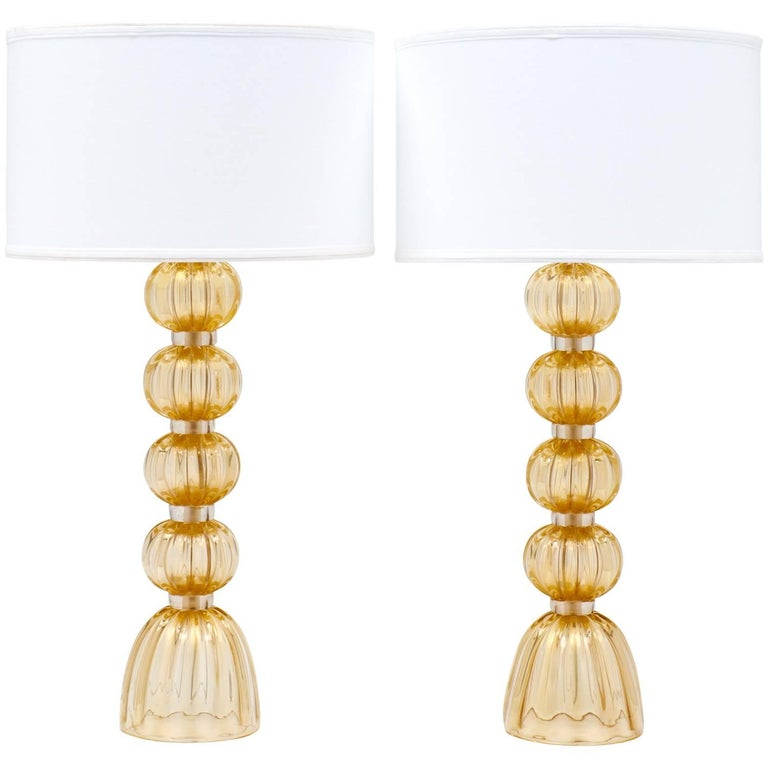 "Pair of Murano ""Avventurina"" Gold-Flecked Glass Lamps For Sale"