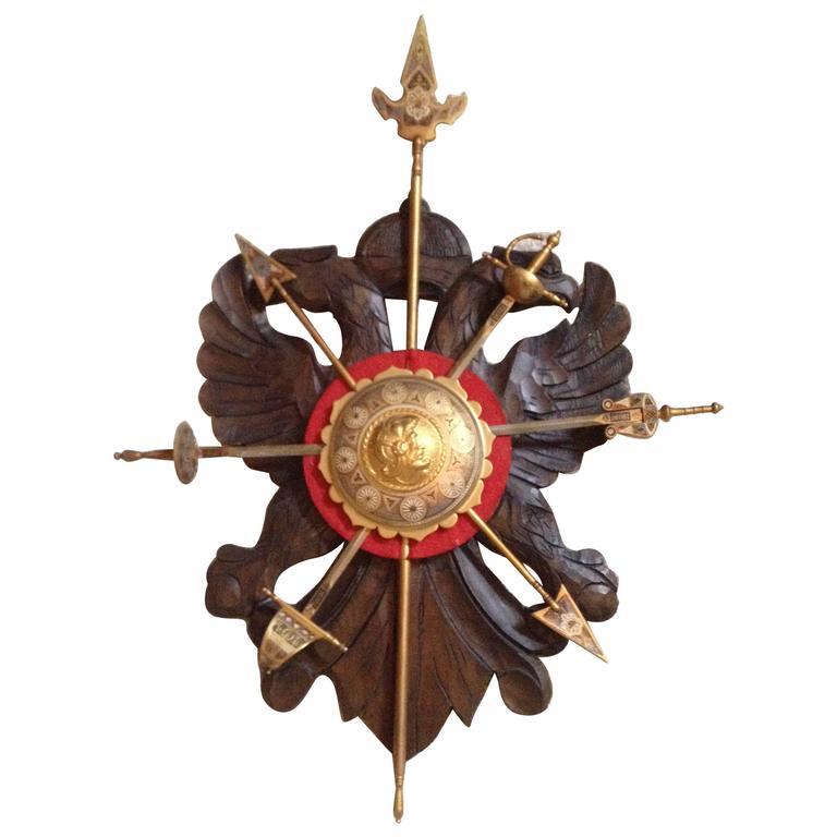 Vintage Spanish Sword Stand Carved Wood Plaque Enameled