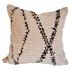 Custom Pillow Cut from a Vintage Moroccan Beni Ouarain Wool Rug