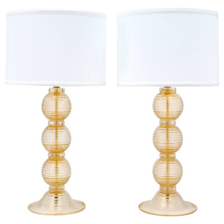 """Pair of Ridged Murano """"Avventurina"""" Glass Table Lamps"""