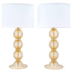 "Pair of Ridged Murano ""Avventurina"" Glass Table Lamps"