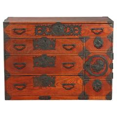 """Japanese Elmwood """"Tansu"""" Chest of Drawers with Elaborate Mounts"""
