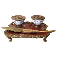 Chinese Porcelain Lacquer and Gilt Bronze Mounted Inkstand, 19th Century