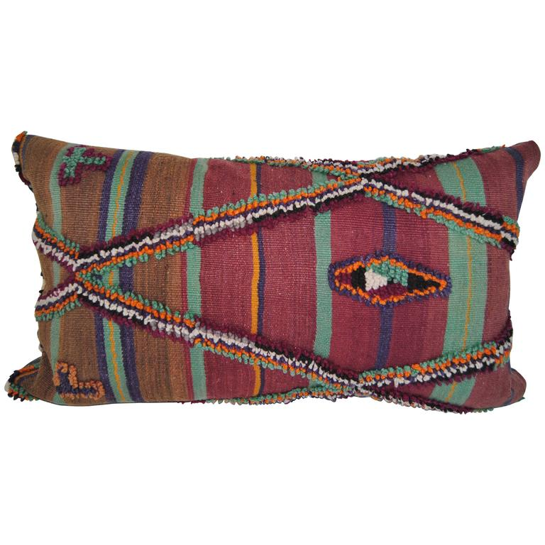 Custom Hand-Loomed Wool Pillow Cut From A Vintage Moroccan