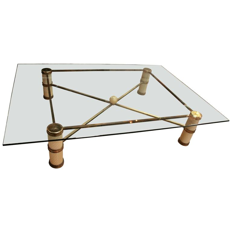 Giant Coffee Table by Tommaso Barbi with Spiral Murano Glass and Brass 1