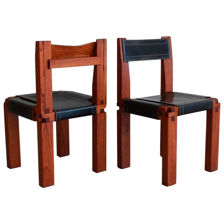 Pair of Chairs by Pierre Chapo For Sale