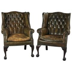 Pair of English George III Style Wing Chairs Upholstered in Leather