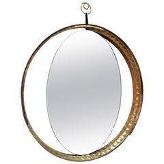 Italian Mirror with Wood and Brass Frame