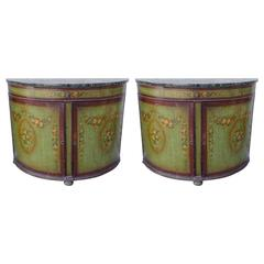 Pair of 19th Century French Painted Demilune Cabinets