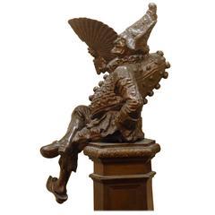 19th Century Cast Iron Court Jester 'Polinchinelle' Sculpture on Pedestal