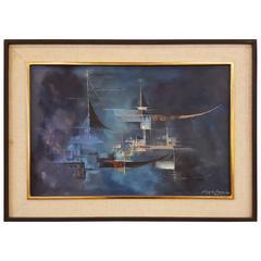 Antonio Vasquez Parra Blue Abstract Painting