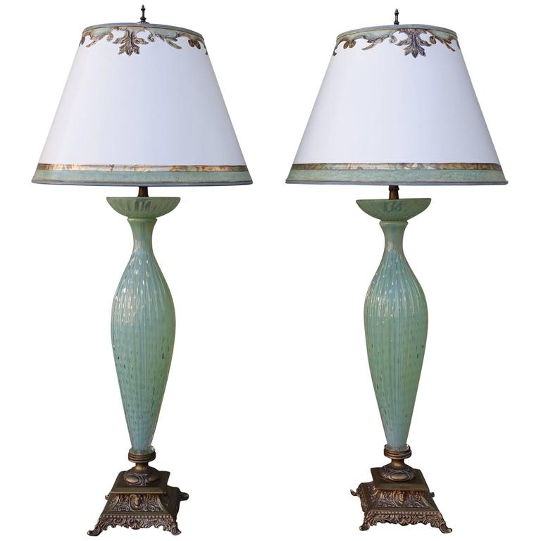 Handblown Murano Lamps with Parchment Shades, Pair