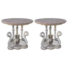 Pair of Painted Swan Tables with Marble Tops