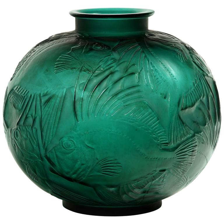 Ren Lalique Vase Poissons Green At 1stdibs