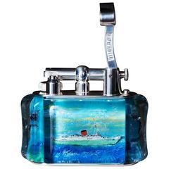 Dunhill Green Goddess Cunard Line RMS Caronia: Ship Aquarium Table Lighter