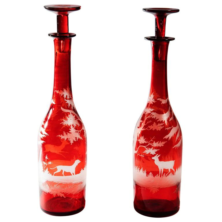 Pair of Bohemian Engraved Glass Bottle Decanters