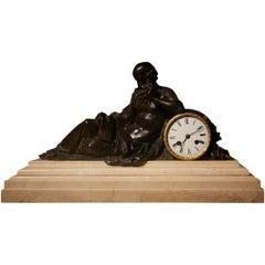 Louis XVI Style Silk Suspension Bronze Clock of Greek Philosopher, France