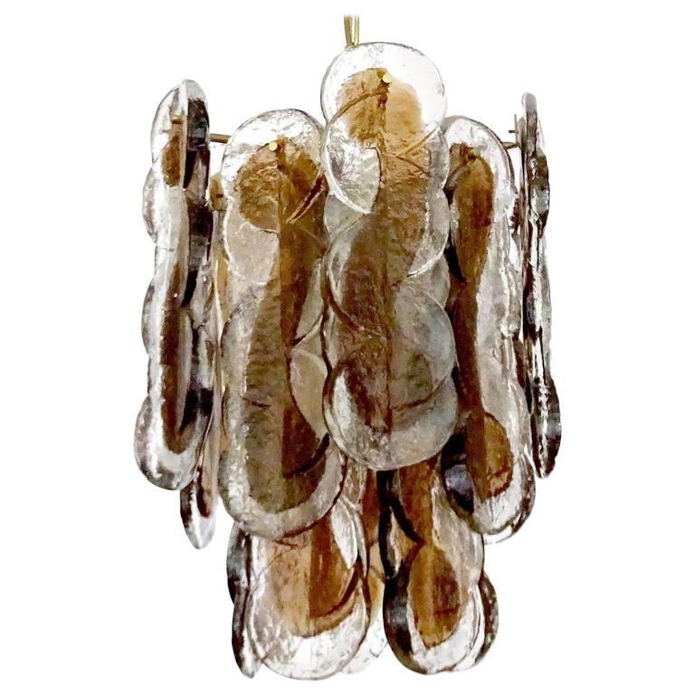 Large Kalmar Two-Tone Seguso Murano Glass Chandelier Pendant Light