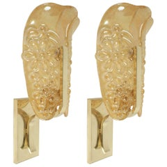 1960s Maison Honoré Iridescent Glass and Brass Pair of Sconces