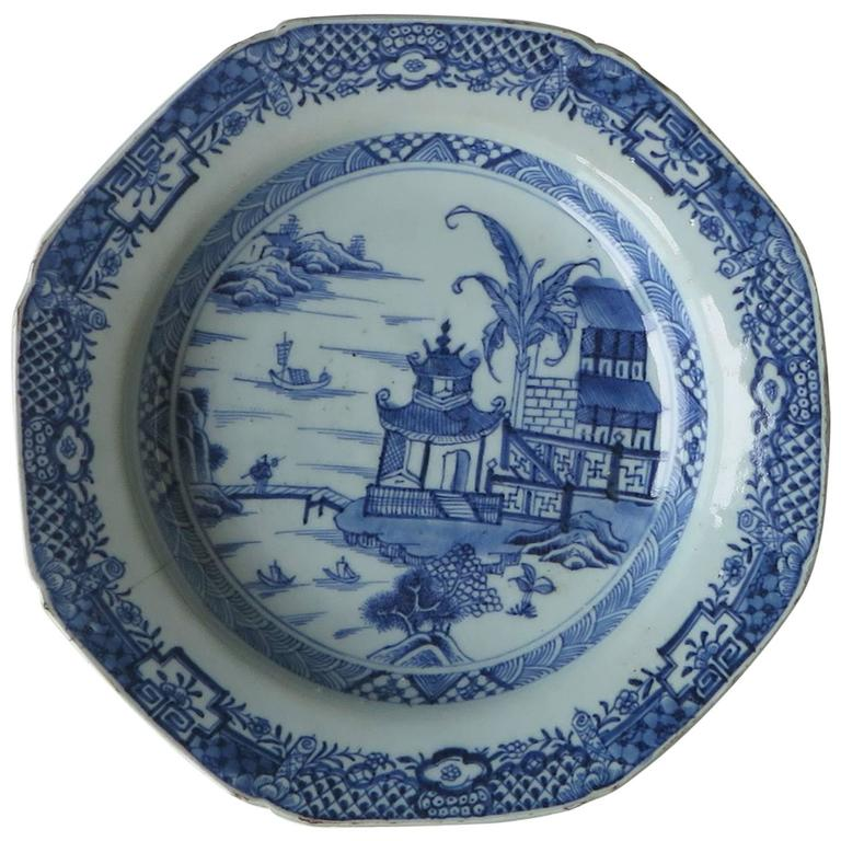 Late 18th C Chinese Export Soup Plate Canton Blue and White Porcelain  sc 1 st  1stDibs & Late 18th C Chinese Export Soup Plate Canton Blue and White ...