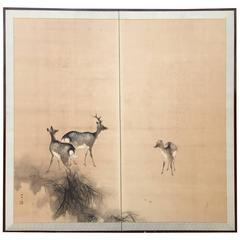 Fine Antique DEER FAMILY Two-Panel Screen Byobu from Japan, Taisho Period