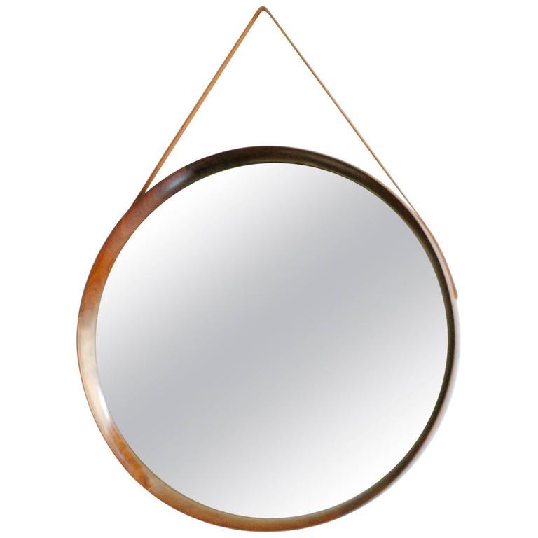 Scandinavian Modern Rosewood Wall Mirror by U. & Ö. Kristiansson for Luxus