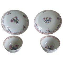 Pair of Chinese Porcelain Tea Bowls and Saucers Famille Rose, Qing Circa 1780
