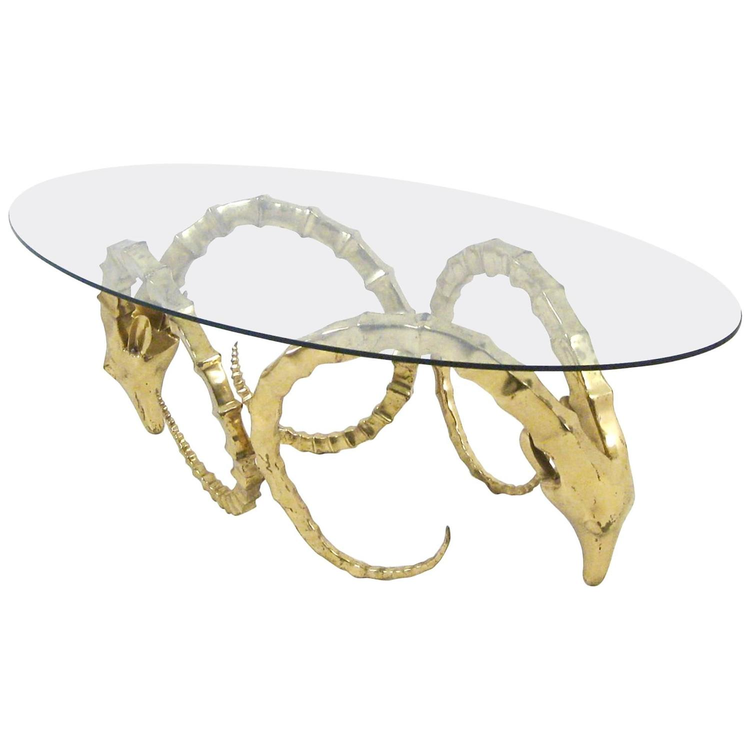 Brass Ram s Head or Ibex Coffee Table in the Style of Alain