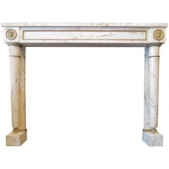 19th Century French Empire Style Fireplace Mantel in Breche Marble