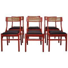 Set of Six Red Italian Dining Chairs from the 1970s