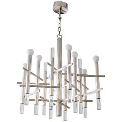 Chrome and Lucite Chandelier by Sciolari Italy