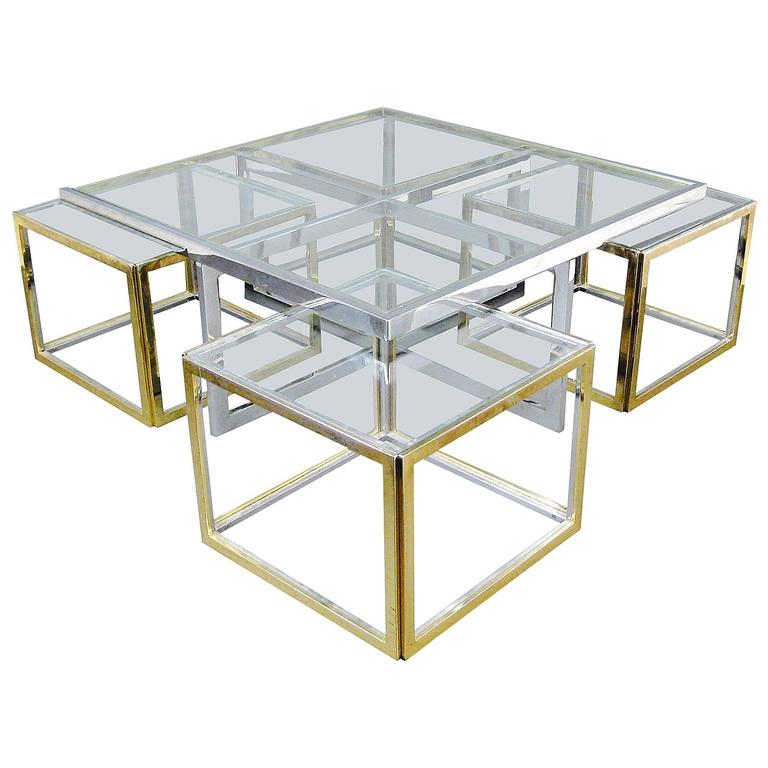 Big Glass Coffee Tables: Large Glass And Metal Coffee Table Attributed To Maison