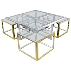 Large Glass and Metal Coffee Table Attributed to Maison Charles